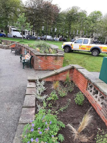 a newly planted flower bed at Steyne Gardens in Worthing