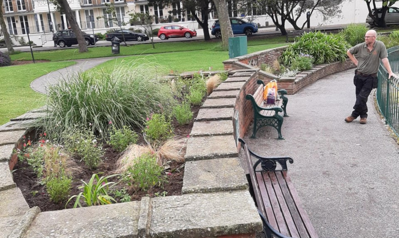 Photo shows a flower bed in Steyne Gardens following work undertaken by SSW and the council