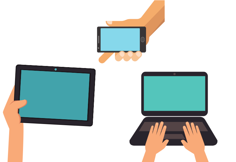 images of a phone, tablet and laptop